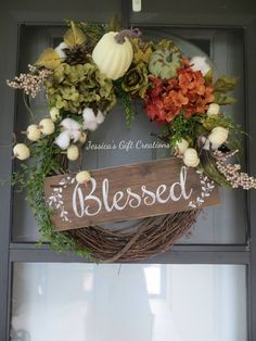 Ready to Ship Blessed Fall Grapevine Wreath/Autumn Wreath/Front Door Wreath/Pumpkin Decor/Cotton Wreath/Thanksgiving Wreath/Hydrangeas Decor by JessicasGCreations on Etsy