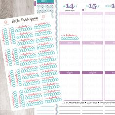 32 Teal / Red / June Hydrate Stickers Sheet | Erin Condren Planner / Plum Paper Planner / Filofax / Kikki K / Planner