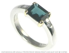 This ring holds a beautiful 1.36cts  tourmaline that is green with a hint of blue, a teal colour. The stone has a lot of depth and interest within it and r...