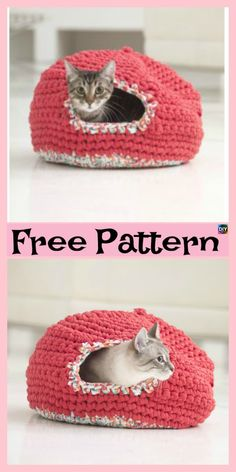 Crochet Patterns For Beginners 10 Awesome Crochet Cat Bed – Free Patterns Gato Crochet, Crochet Cat Pattern, Free Pattern, Knit Crochet, Ravelry Crochet, Learn Crochet, Pattern Ideas, Double Crochet, Loom Knitting
