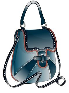 blue bag with rivets with a short and long handle