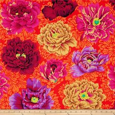 Kaffe Fassett Collective Brocade Peony Wine from @fabricdotcom  Designed by Philip Jacobs for Westminster, this cotton print is perfect for quilting, apparel and home decor accents.  Colors include shades of orange, shades of yellow, shades of purple, shades of pink and shades of brown.