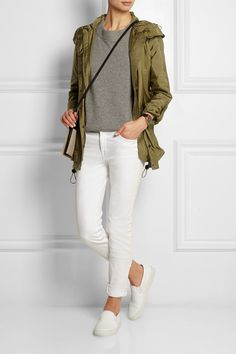 Army-green shell Concealed snap and zip fastenings at front 100% polyamide; trims: 100% leather (Calf); lining: 100% polyester Dry clean Designer color: Light Khaki