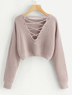 Shop Lace-Up V Back Crop Jumper online. SheIn offers Lace-Up V Back Crop Jumper & more to fit your fashionable needs. Chunky Knit Jumper, Cropped Knit Sweater, Cropped Jumpers, Cute Jumpers, Chunky Crochet, Pink Sweater, Teen Fashion Outfits, Casual Outfits, Cute Outfits