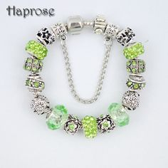 hot selling green beads High Quality Crystal flower Charm bracelet for women Enamel Flower Beads DIY Bracelet Pulseira Gfit