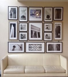 Perfect photo collage wall! Different size pics