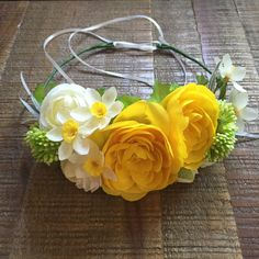 A personal favorite from my Etsy shop https://www.etsy.com/listing/267812719/yellow-floral-crown-spring-floral-crown