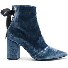 self-portrait x Robert Clergerie Velvet Karlit Boots (€230) ❤ liked on Polyvore featuring shoes, boots, ankle booties, blue, ankle boots, booties, blue high heel boots, blue boots, high heel boots and high heel booties