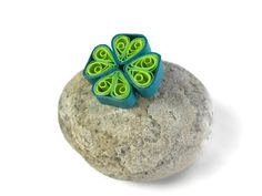 Quilling clover pin St Patricks brooch Four by Herpaperparadise