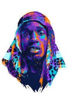 Tyler The Creator Illustration art rap rappers biggie kanye west 2pac Tupac digital hip-hop kendrick lamar portraits a$ap rocky Iconic Big Pun odb wu-tang danny brown chance the rapper