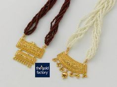 Intricate filigree-katai pendants in hallmarked gold that are gorgeous and pocket friendly, thanks to Gold Factory's famous light touch. Red Beads : Pendant - weight 8 gms and price Rs. White Beads : Pendant - weight 6 gms and price Gold Bangles Design, Gold Earrings Designs, Necklace Designs, Jewelry Design, Gold Pendent, Gold Mangalsutra Designs, Gold Jewelry Simple, Beaded Jewelry, Jewellery