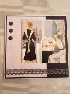 Art Deco style card using docrafts topper