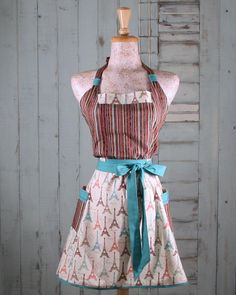 Eiffel Tower Retro Apron in turquoise browns reds and stripes by apronqueen on Etsy