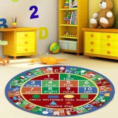 "6'6"" Kids Round BEDROOM EDUCATIONAL RUG Playroom Rugs Classroom Rug Non Skid  #worldwidemark3tKidsRug"