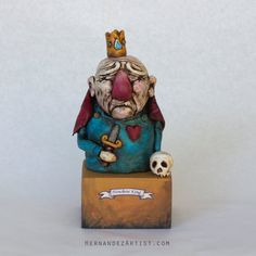 Nowhere King  - Handmade Sculpture, Polymer Clay, Wood - Sale