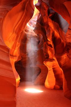 Antelope Canyon is one of the most striking slot canyons known to man. A slot canyon is a narrow canyon sliced through a mesa by the forces of nature. Some canyons measure less than a yard across at the top, but drop a hundred feet or more from the rim to the bottom. Slots are cut and scoured by water and wind, with the striations of the sandstone becoming almost incandescent.