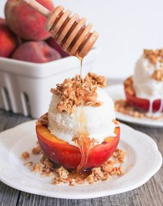 Grilled Peach Crisp Sundaes: http://www.stylemepretty.com/living/2015/08/09/25-peach-recipes-to-make-your-august-even-sweeter/