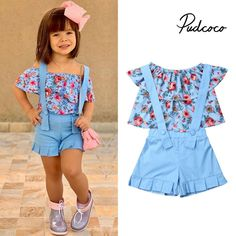 pudcoco 2019 Children Clothing Suits For Girls Clothes Kids Toddler Enfant Fille Infantis Outfits Flower Blouse Summer Ropa de niña, Girls Summer Outfits, Dresses Kids Girl, Cute Outfits For Kids, Baby Outfits, Toddler Outfits, Baby Girl Fashion, Kids Fashion, Girls Fashion Clothes, Baby Frocks Designs