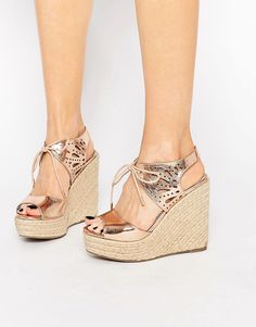 Lipsy Brooke Rose Gold Metallic Tie Up Wedge Sandals. Need these in my life!