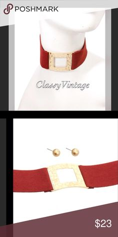 Red suede choker with gold accent Faux red suede with goldtone detail and matching earrings. boutique Jewelry Necklaces