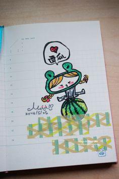 20140602【FROG GRIL VS 西瓜】 端午節好熱,好想吃西瓜......=口=