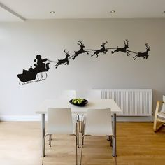 Santa And Sleigh Wall Stickers Christmas Wall Decal Art available in 5 Sizes and 25 Colours Medium Black: Amazon.co.uk: DIY & Tools