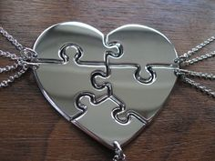 Five Piece Heart Puzzle Necklace Pendants by GorjessJewellery. Mom. Aunt. My daughter. Etc. love <3