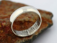Custom Inner Fingerprint Ring - Sterling Silver Engraving Wedding Band- blackened,6mm