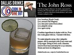 The John Ross - Bourbon for his daddy, smoky mezcal for interest in oil and a touch of jalapeño syrup for his hot-headedness.