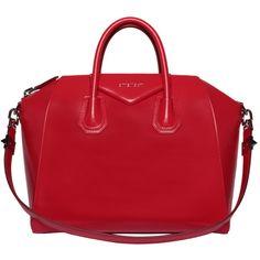 Givenchy Leather medium Antigona bag featuring polyvore fashion bags handbags purses red red purse givenchy purse leather bags shoulder strap handbags genuine leather purse