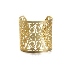 "Lonni Cuff by KL Collection ($22) Arm yourself with the Lonni Cuff. The laser cut design in a matte gold finish will look glamorous with a printed summer frock or more classic jeans and a tee. (Gold metal, silk rope & crystals, Approx. 2.5"" wide, with adjustable fit) Visit store: https://scandalous.kitsylane.com/index.php?file=product_detail=630"