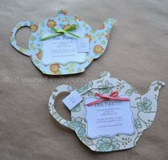 Make tea party invitations. Template & instructions available. DIY paper crafts for cards & decorations. Printable in Documents as tea-pot-tea-party-invitations-templates Girls Tea Party, Princess Tea Party, Tea Party Birthday, Birthday Ideas, Bridal Shower Tea, Tea Party Bridal Shower, Baby Shower Parties, Shower Party, Tea Party Invitations