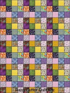 Love violets and yellow.  Reminds me of my flower garden.  Squares--I could do this.