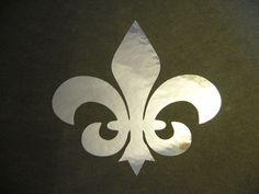 "Fleur De Lis in Gold Chrome #1 vinyl window laptop decal car bumper sticker 5/"""