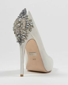 Badgely Mischka Bridal Shoe, available in white, emerald green, taupe and black satin