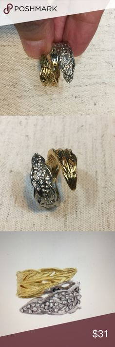Two tone feather wrap ring This feather two tone is a wrap ring. Refined pavé delicate feather details define bohemian glitz. ..12k shiny gold plus shiny rhodium plated. .. nickel free.  Size 8 Chloe + Isabel Jewelry Rings