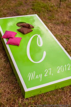 Custom Cornhole Board for Cocktail Hour Photo credit: Richard Bell Photography