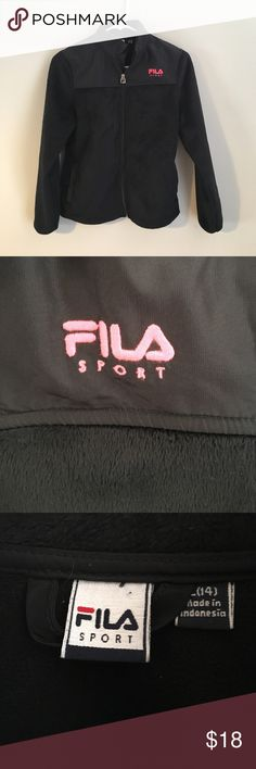 FILA SPORT Jacket This jacket is so soft! Fully lined and zips all the way up. Gently worn, and a nice pop of pink in the logo. Size Large 14 Fila Jackets & Coats