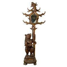 Exceptional Carved Wood Bear Hallstand Swiss Brienz Ca