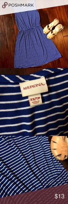 👩🏻Merona XS blue and white striped dress Great condition  comfy stylish dress. Cinched waist,lots of stretch! Minimal to no signs of wear. Measurements taken lying flat: top of shoulder to hem 35inches. Has belt loops but no belt included with. Merona Dresses