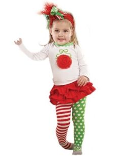 Mud Pie Baby Girls Christmas Ornament 3 Piece Set with Red Tutu Skirt, Striped and Polka Dot Leggings and White Top with Christmas Ornament Applique