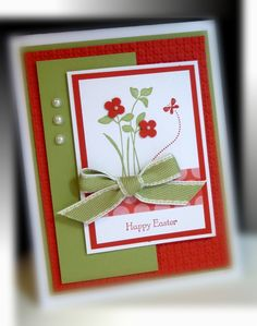 simple layout, pretty color combo. Pear Pizzazz and Poppy Parade