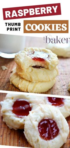 These Raspberry Thumbprint Cookies are a deliciously soft, melt in your mouth cookie combining the flavors of shortbread and raspberry and topped with a delectable almond glaze. This recipe is so simple, easy, and whip together in just minutes! Raspberry Thumbprint Cookies, Raspberry Cookies, Thumbprint Cookies Recipe, Raspberry Recipes, Köstliche Desserts, Delicious Desserts, Dessert Recipes, Easy Cookie Recipes, Baking Recipes