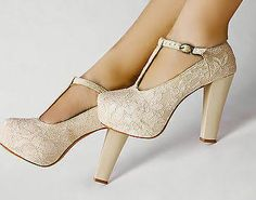 Ivory Lace Flower T-strap Platform Dancing High Heel Women Shoes