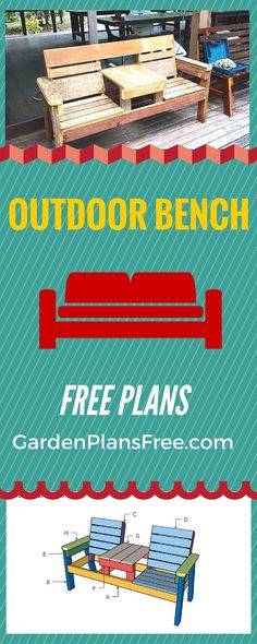 How to build outdoor furniture - Free plans for you to make a patio bench from wood - Simple double chair with table design! gardenplansfree.com #diy #outdoor #bench