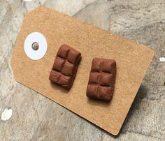 Chocolate treats stud earrings handmade from polymer clay