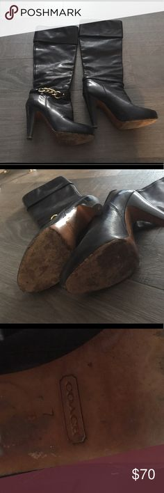 Coach boots with gold chain details Size 7 in great condition but used pictures from different angles shown. Coach Shoes Heeled Boots
