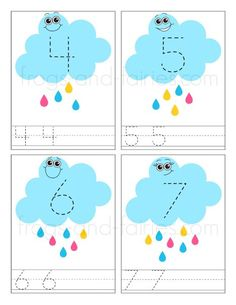 Rain Cloud Number Tracing Cards - Frogs and Fairies Kindergarten Math Worksheets, Preschool Learning Activities, Kindergarten Writing, Spring Activities, Preschool Activities, Maths, Writing Numbers, Learning Numbers, Number Tracing