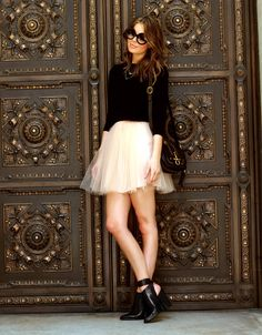 pink tulle skirt and black top. #feminine #style #zappos