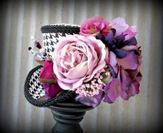 Black and White Herringbone, Purple Flower Expclosion Mini Top Hat,Alice in Wonderland,Tea Party Hat,Mad Hatter Hat,Steampunk, Tea Party Hat on Etsy, $52.00